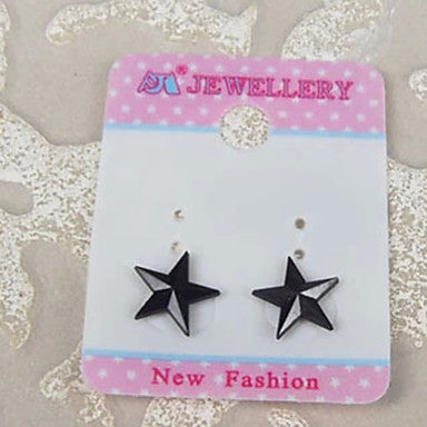 Men's Black Star Magnet Cilp Earrings