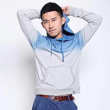 Men's Contrast Color Long Sleeve Hoodie