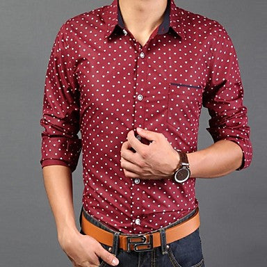 Men's Slim Casual Print Contrast Color Long Sleeved Shirt