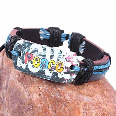 Vintage LOVE PEACE 25cm Unisex Brown Leather Bracelet(Multicolor)(1 Pc)