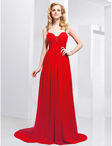 A-line Spaghetti Straps Sweep/ Brush Train Chiffon Evening Dress