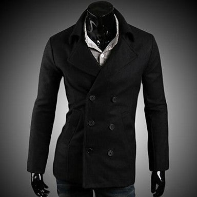 Men's New Leisure Fashion Double Breasted Wool Coat
