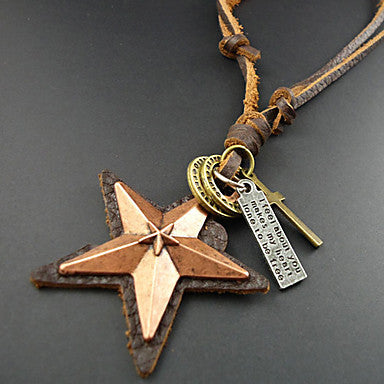 Classic (Star Pendant) Brown Leather Vintage Necklace(Assorted Color) (1 Pc)