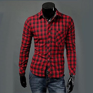 Men's Casual Fashion Stand Collar Slim Thick Shirt