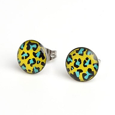 Fashion Hot Green Leopard Stainless Steel Stud Earrings