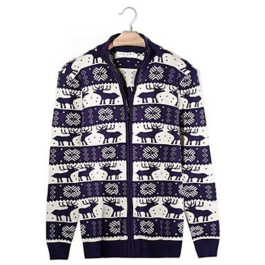 Men's Printed Cardigan Wool Knit Sweater