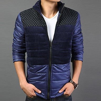 Men's Slim Stand Casual Contrast Color Prints Coat