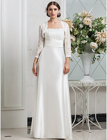 Sheath/ColumnN/A Spaghetti Straps Scalloped-Edge Sweep/Brush TrainStretch Satin Lace Wedding Dress With A Wrap