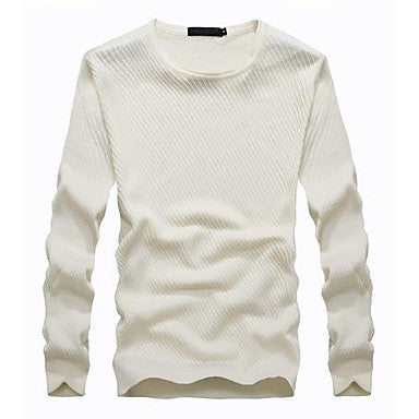 Men's Round Collar Twill Mercerized Wool Long Sleeve Sweater