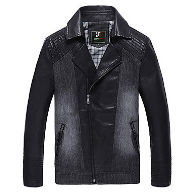 Men's Fashion Slim Leather Fight A Denim Jacket