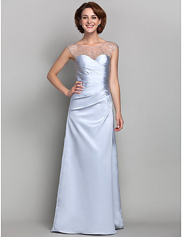 Sheath/Column Bateau Satin And Tulle Mother of the Bride Dress