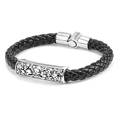 Fashion Multiple Skull Men's Black Or Brown Leather Leather Bracelet(Brown,Black)(1 Pc)