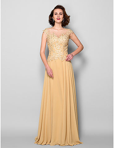A-line Jewel Sweep/Brush Train Chiffon Mother of the Bride Dress
