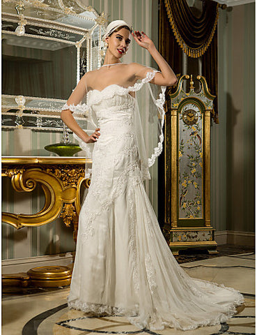 A-line Sweetheart Court Train Lace And Organza Wedding Dress (632822)