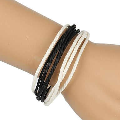 Fashion Braided Bracelet Simple and Comfortable White Black (1 Piece)
