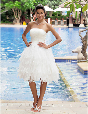 A-line Strapless Sleeveless Knee-length Satin Wedding Dress
