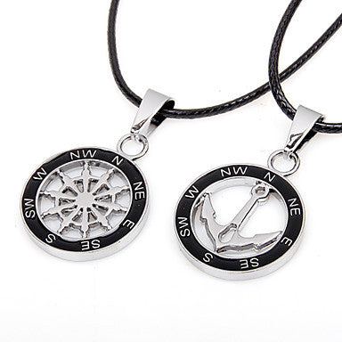 Men's Alloy Anchor Compass Pendant Necklace