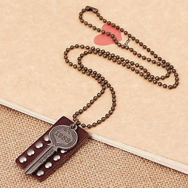 Korea Style Rivet Key Leather Pandant Necklace(1pc)