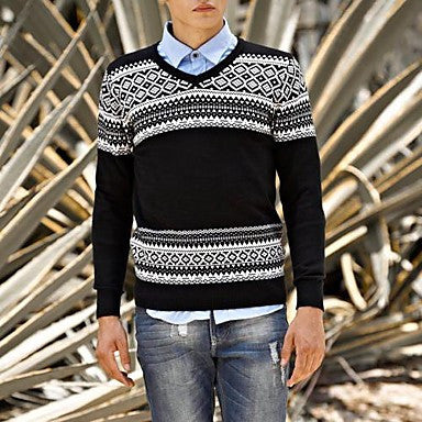Men's Korean Style Splicing Color V Neck Knitwear Sweater