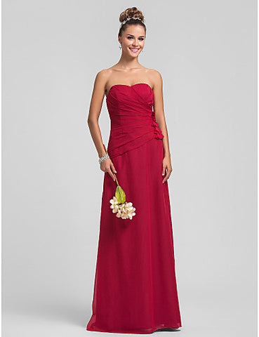 Bridesmaid Dress Floor Length Chiffon Sheath Column Sweetheart Dress with Flowers