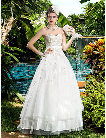 A-line Sweetheart Satin Floor-length Wedding Dresses