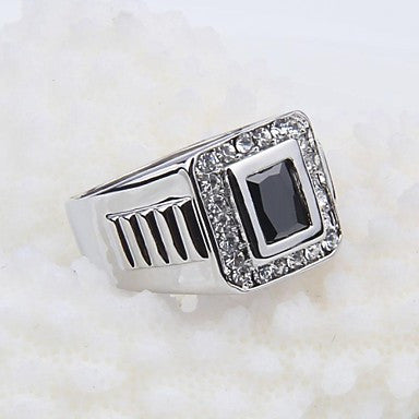 Korean Style Contracted Square Rhinestone Black Stone Men's Ring