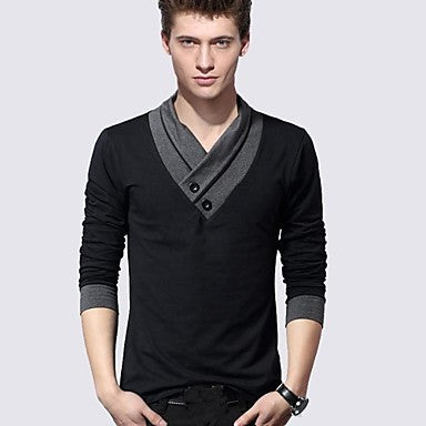 Men's V Neck Long Sleeve Fashion T-shirts