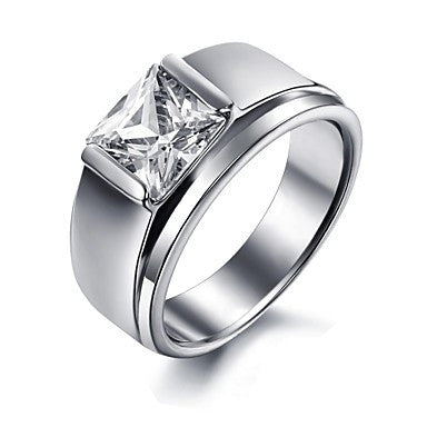 Exquisite Titanium Steel Men Ring with Cubic Zirconia Rings for Men