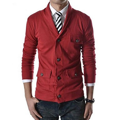 Men's Lapel Collar Casual Single-Breasted Jacket