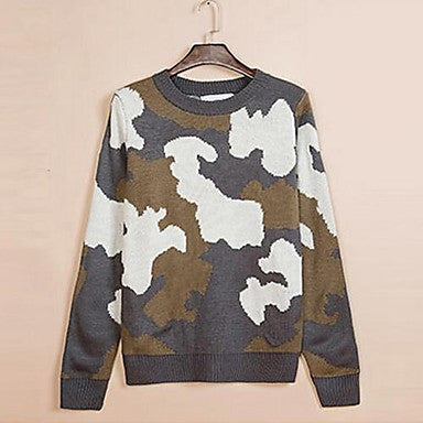 Men's New Thermal Camouflage Cotton Crewneck Sweaters