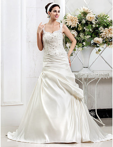 A-line Sweetheart Court Train Lace And Satin Wedding Dress