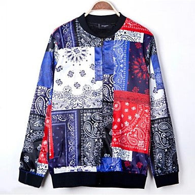 Men's National Digital Printing Casual Zipper Long Sleeve Jackets