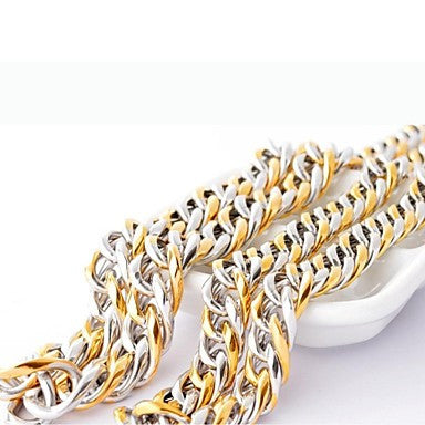 Fashion Men's Color Golden Titanium Steel Chain Necklace