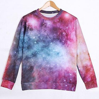 Men's Cotton Long Sleeve 3D Galaxy Printed Autumn Sport Sweatshirts