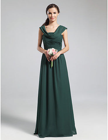 Bridesmaid Dress Floor Length Chiffon A Line Cowl Dress