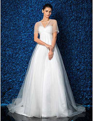 A-line/Princess Sweetheart Lace And Tulle Court Train Wedding Dress (1