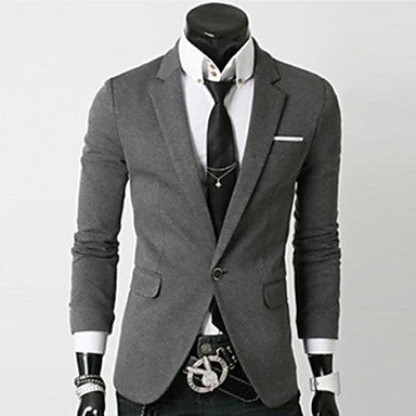 Men's Slim Stand Knitting Single Breasted Blazer