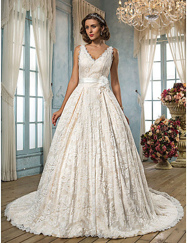 Wedding Dress A Line Court Train Lace Scalloped Edge V Neck With Appliques