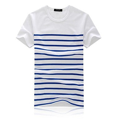 Men's Round Collar Casual Short Sleeve Cotton Striped Tops T-Shirts