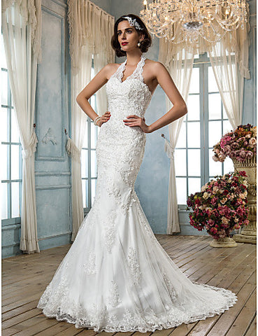 Wedding Dress Trumpet Mermaid Court Train Tulle V Neck Halter With Beading Appliques