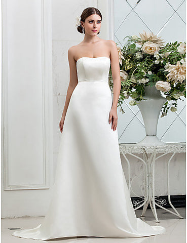 A-line Strapless Sweep/Brush Train Buttons Satin Wedding Dress
