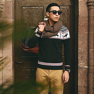 Men's Round Collar Fashion Europe Style Knit Sweaters