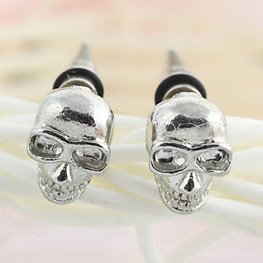 Gothic Skull Silver Alloy Stud Earrings (1 Pair)