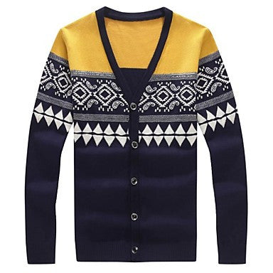 Men's Fashion Long-sleeved V-neck Cardigan Sweater