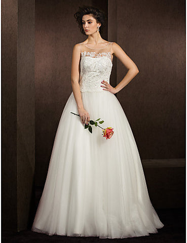 Ball Gown Jewel Floor-length Tulle Wedding Dress (2049173)