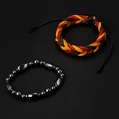 Cheap Multicolor Leather Bracelet+Black Stone Needle Hologram Bracelet(2pcs)
