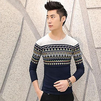Men's Round Neck Long-sleeved Sweater Spring Fashion