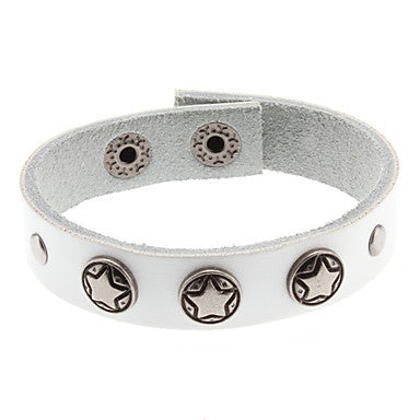 Round Five-pointed Star White Leather Bracelet