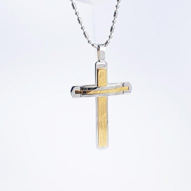 Fashion Men's Titanium Steel Scripture Cross Pendant Necklace