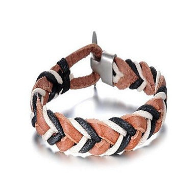 Fashion Men's Multicolor Alloy Leather Bracelet(1 Pc)